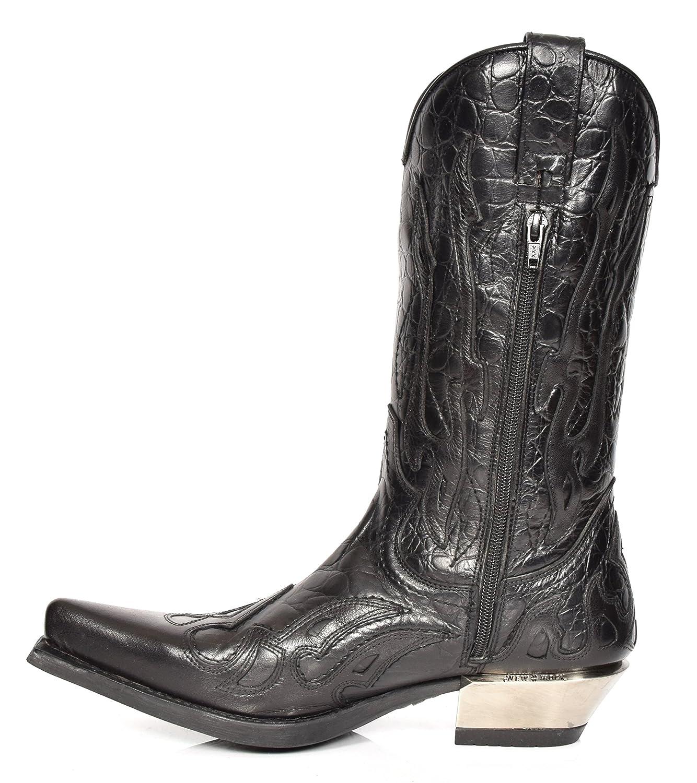 New Rock Herren Biker Cowboy Stiefel Stiefel Stiefel überstreifen Leder Schwarz Flammen Design Westernabsatz Schuhe 95de0c