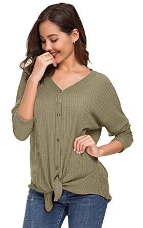 5a64a5416 UGET Womens Long Sleeve V Neck Button Down Waffle Knit Tunic Blouse Tie  Knot Henley Tops Asia S Khaki at Amazon Women's Clothing store: