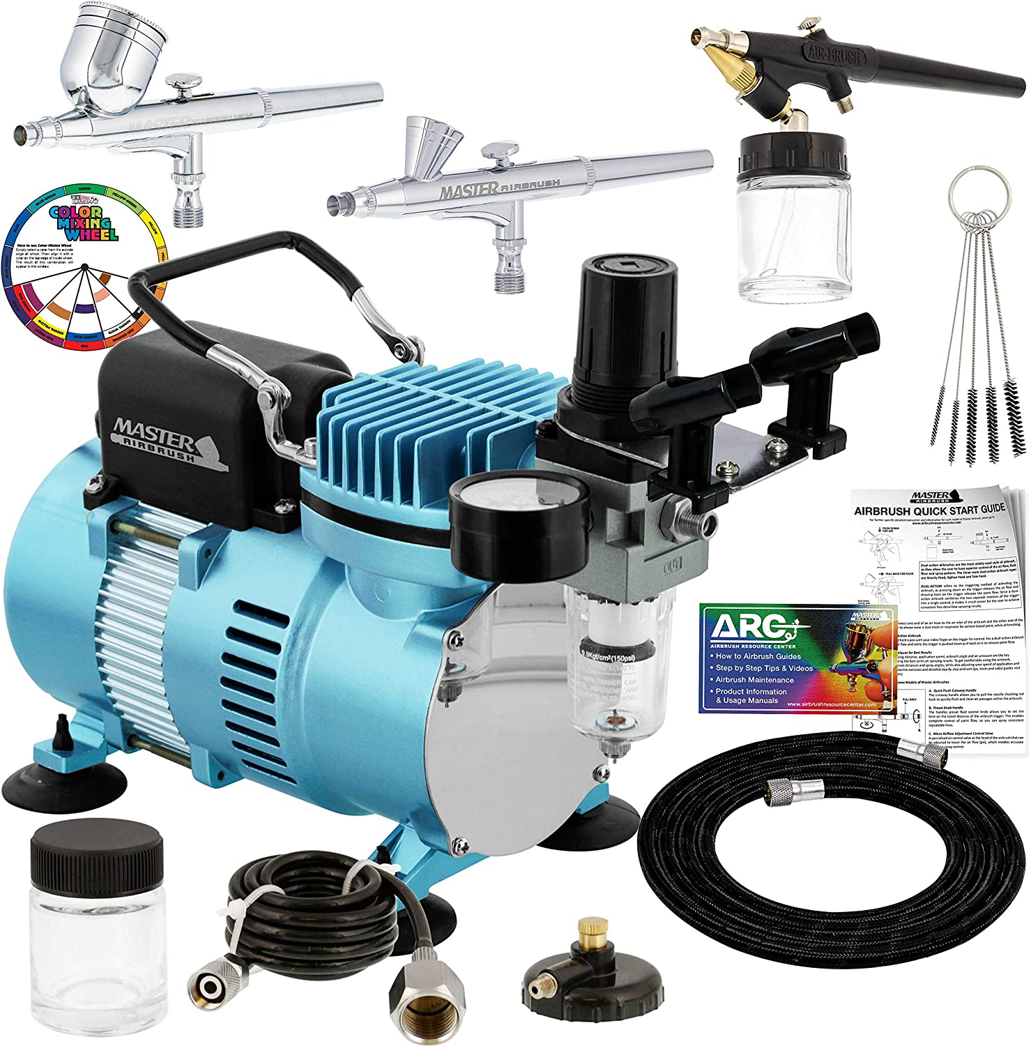 Master Airbrush Cool Runner II Dual Fan Air Compressor Professional Airbrushing System Kit with 3 Airbrushes, Gravity and Siphon Feed - Holder, Color Mixing Wheel, Cleaning Brush Set, How-to Guide: Arts, Crafts & Sewing