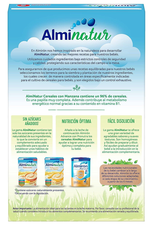 Alminatur Papilla de cereales con manzana a partir de los 6 meses - Paquete de 5 x 250 gr - Total: 1.25 kg: Amazon.es: Alimentación y bebidas