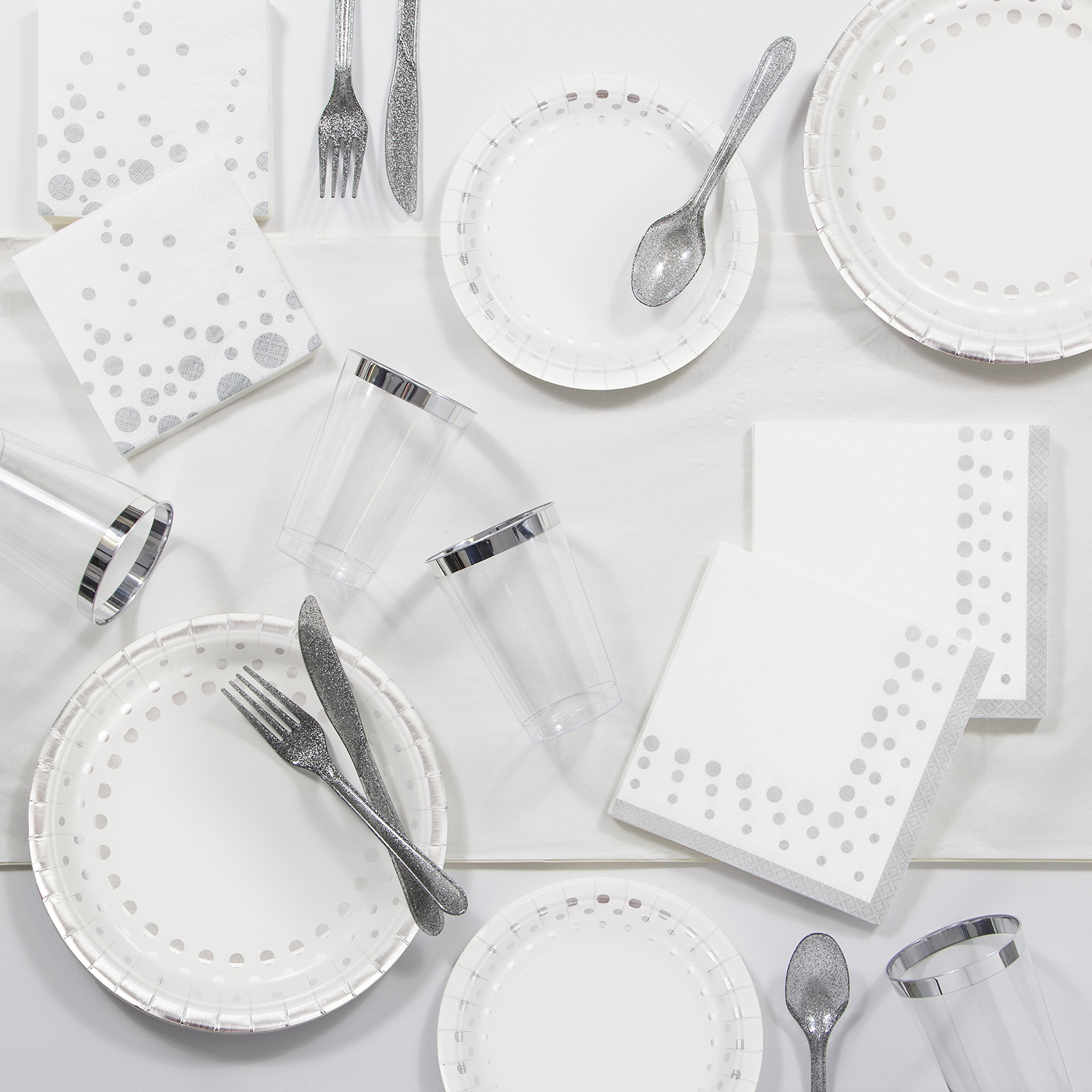 Large Sparkle and Shine Silver Party Supplies Kit