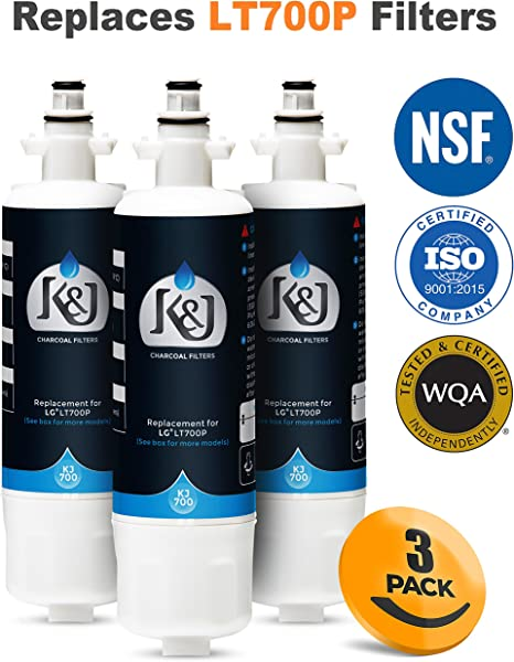 2 Pack K/&J Charcoal Filters LG LT700P Compatible Refrigerator Water Filters