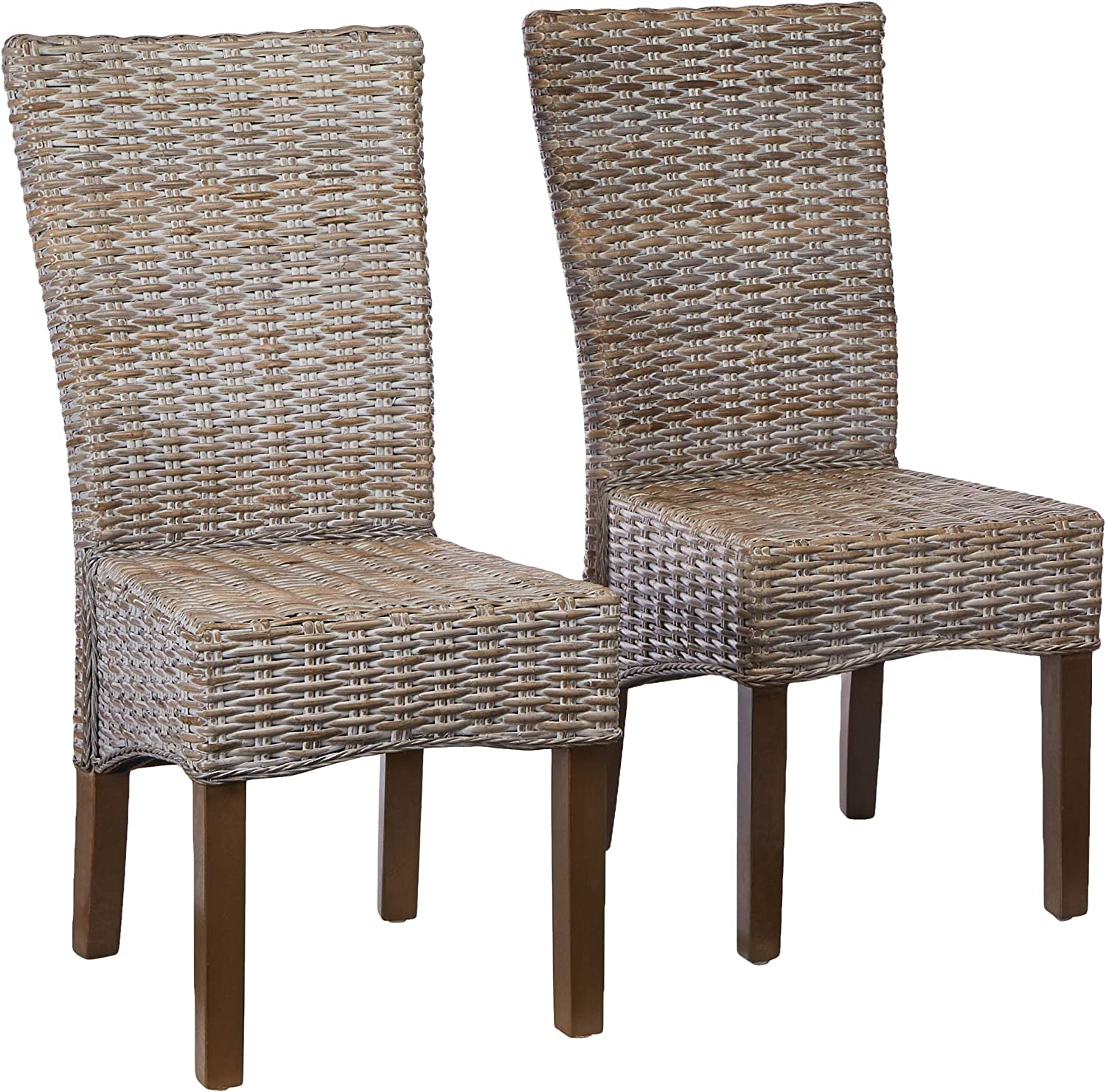 Amazon Com Safavieh Home Collection Ozias Grey Wicker 18 Inch Dining Chair Set Of 2 Furniture Decor