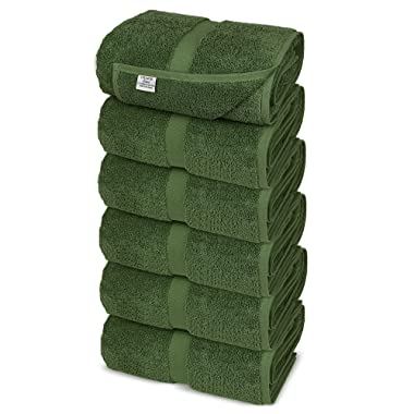 Chakir Turkish Linens Turkish Cotton Luxury Hotel & Spa Bath Towel, Hand Towel - Set of 6, Moss