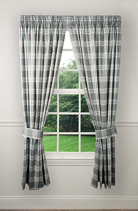 Ellis Curtain Bartlett Tailored Pair Curtains With Ties 90 X 63 Grey