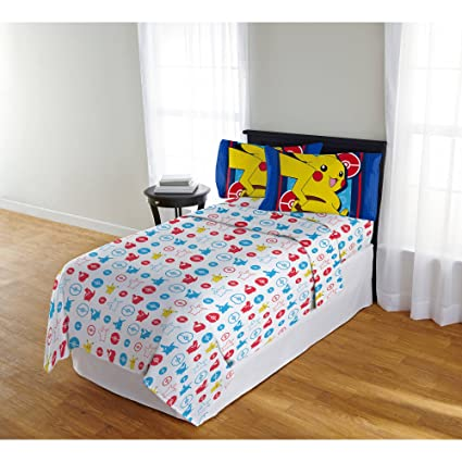 Amazing 4 Piece Boys Blue Yellow Pokemon Electric Ignite Sheet Full Set, Red White  All Over