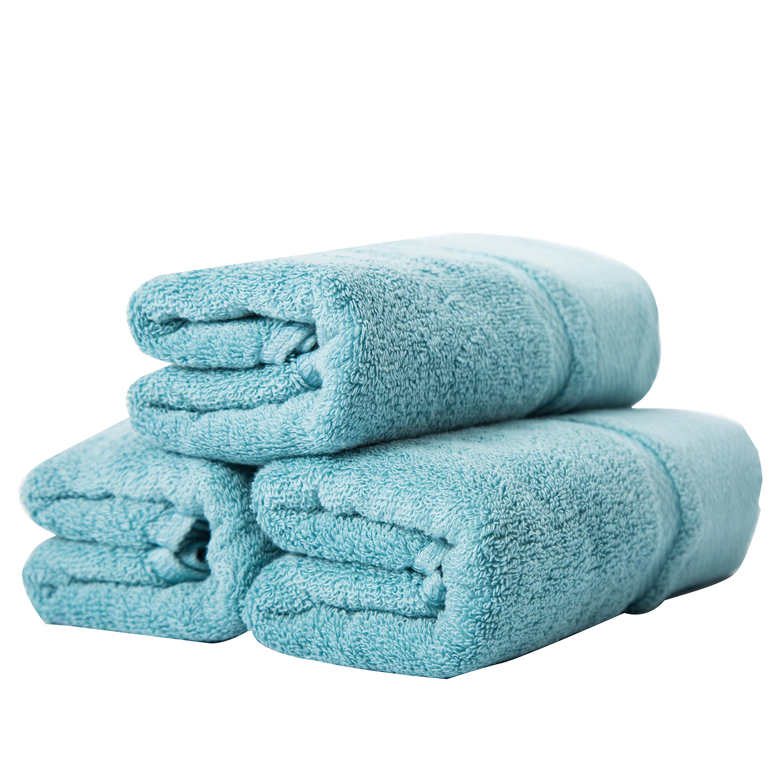 sense gnosis Hand Towels Ultra Absorbent Quick Dry 100 Percent Terry Cotton Luxury Towel Set for Everyday Use, Home, Gym, Pool, Camping (3 Pack Turquoise,13'' X 29'' )