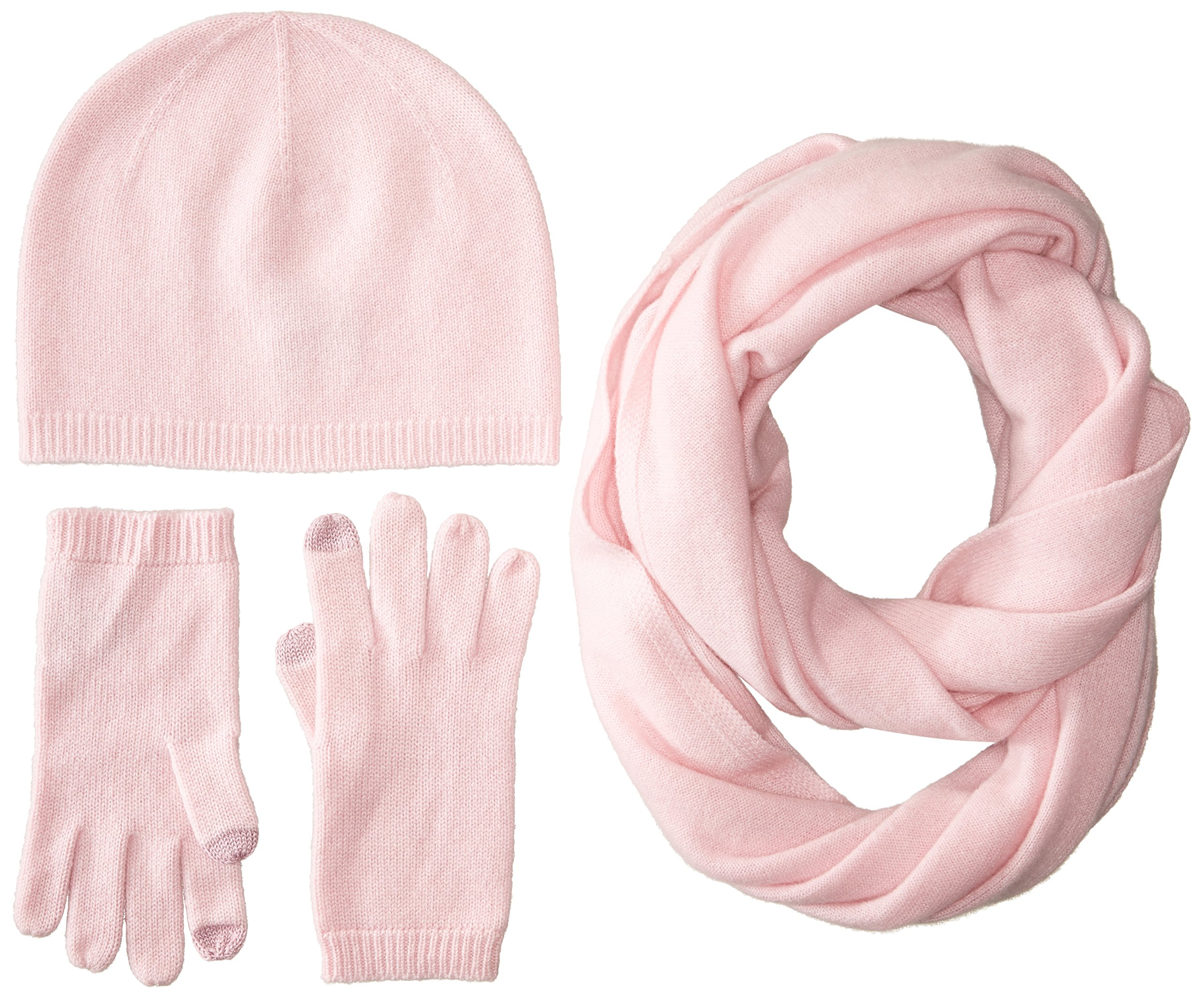 Sofia Cashmere Women's Gift Box Set-Hat, Smartphone Gloves, and Infinity Scarf, Pink, One