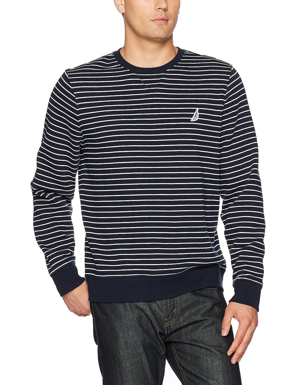 Nautica Men's Long Sleeve Tech Fleece Yarn Dyed Tri-Color Stripe Crewneck K73371