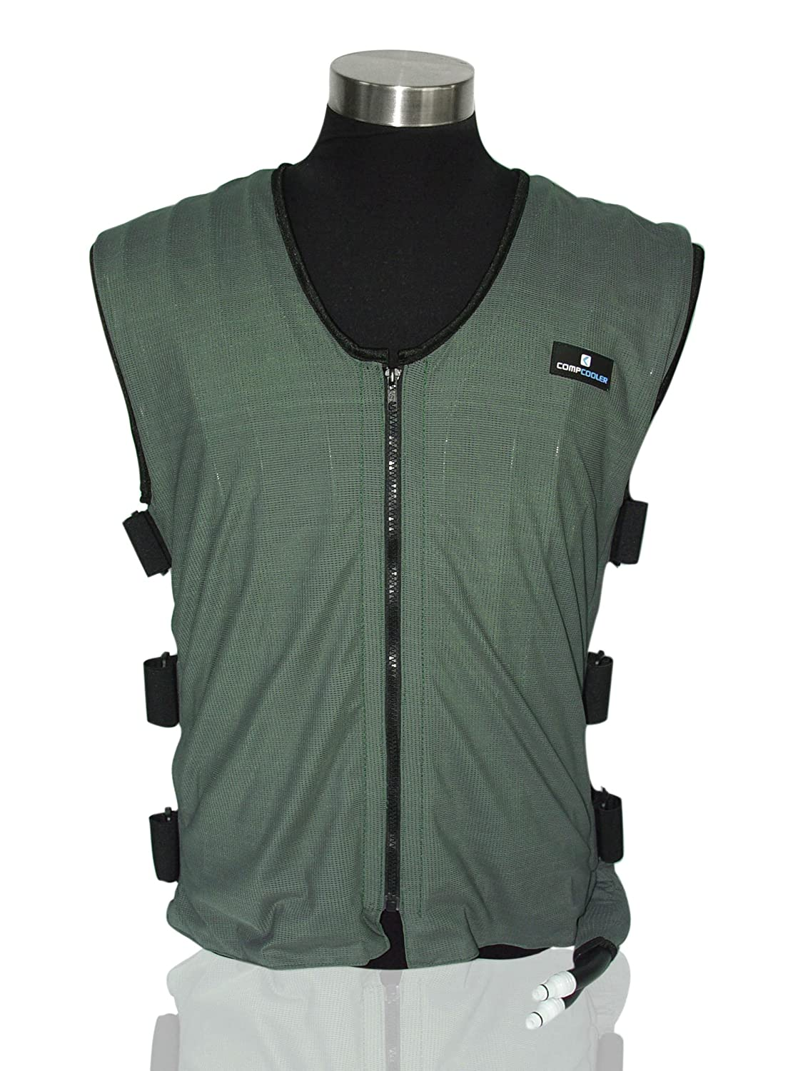 COMPCOOLER Liquid Cooling Vest, Dark Green Outer Mesh Fabric, Black Mesh Liner, Reversible Application