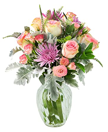 Roses Of Passion Perfectly Accented Mixed Bouquet With Free Vase
