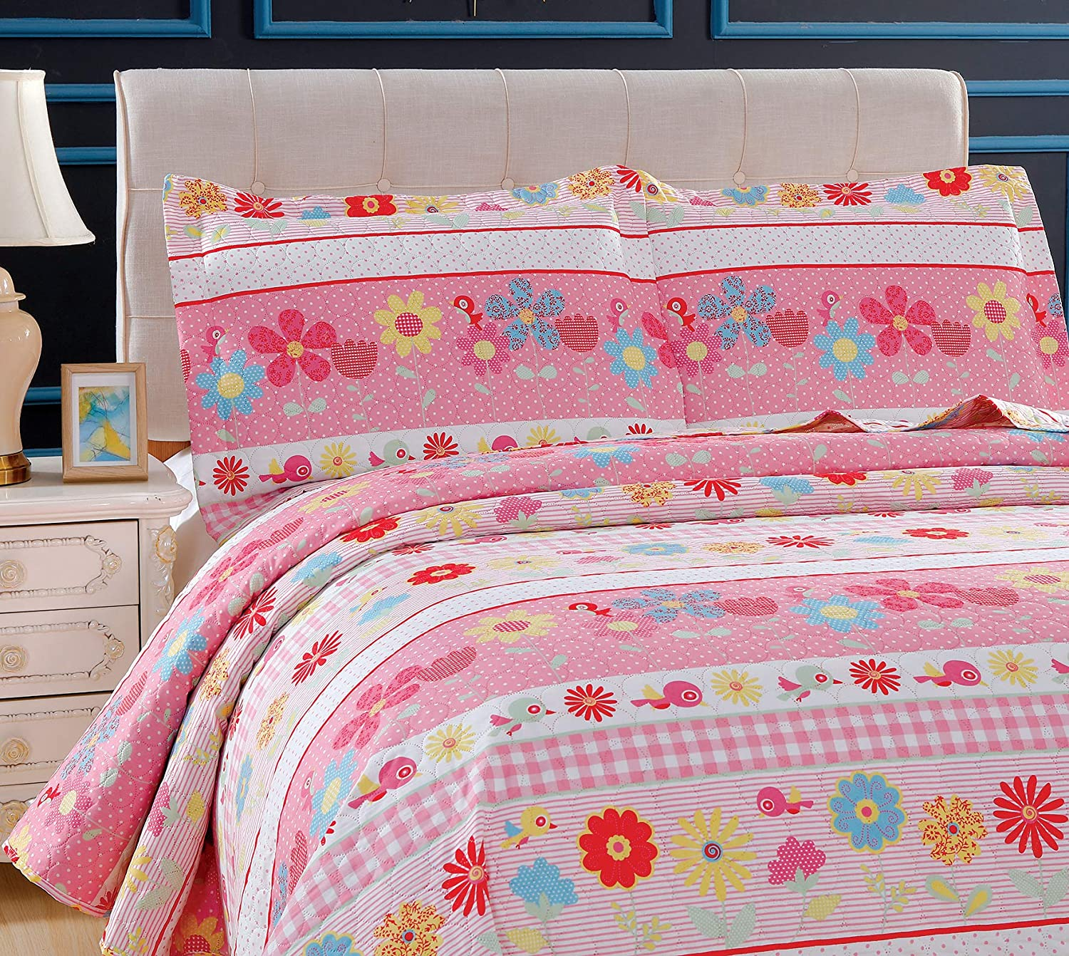 3-Piece Girls Floral Quilt Set Twin with Shams Soft Lightweight Breathable Quilted Bedspread Coverlet Bedding Set for All Seasons Pink Flower, Twin Flowers Birds Dot Stripe