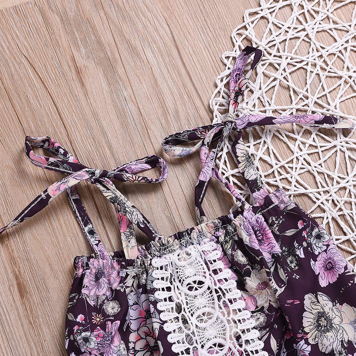 Little Baby Girls Strap Floral Tube Top Dress+Shorts Summer Sunsuit Outfit Set 2Pcs 0-5Y