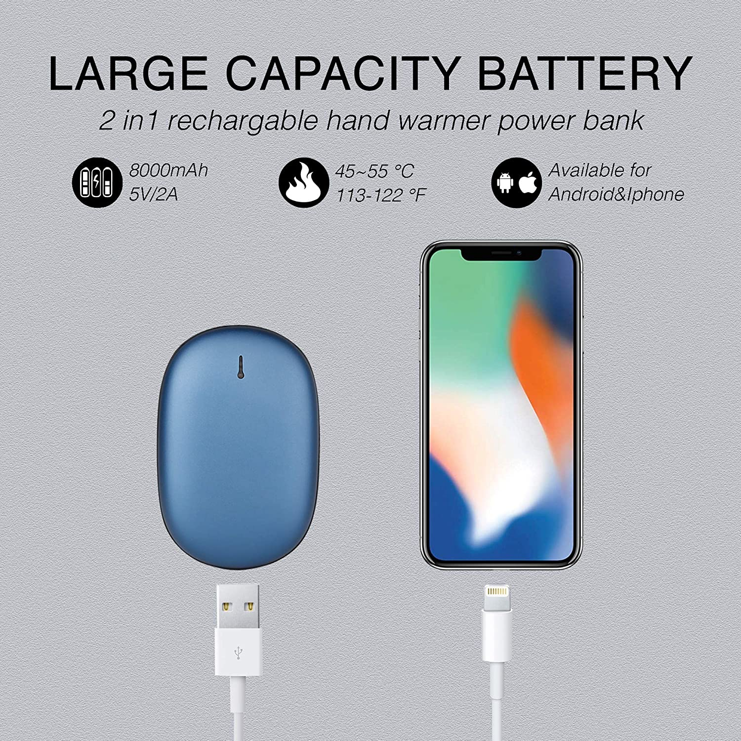 Inc... rechargeable 5200mAh battery 3 Intensity levels Electric Hand Warmer