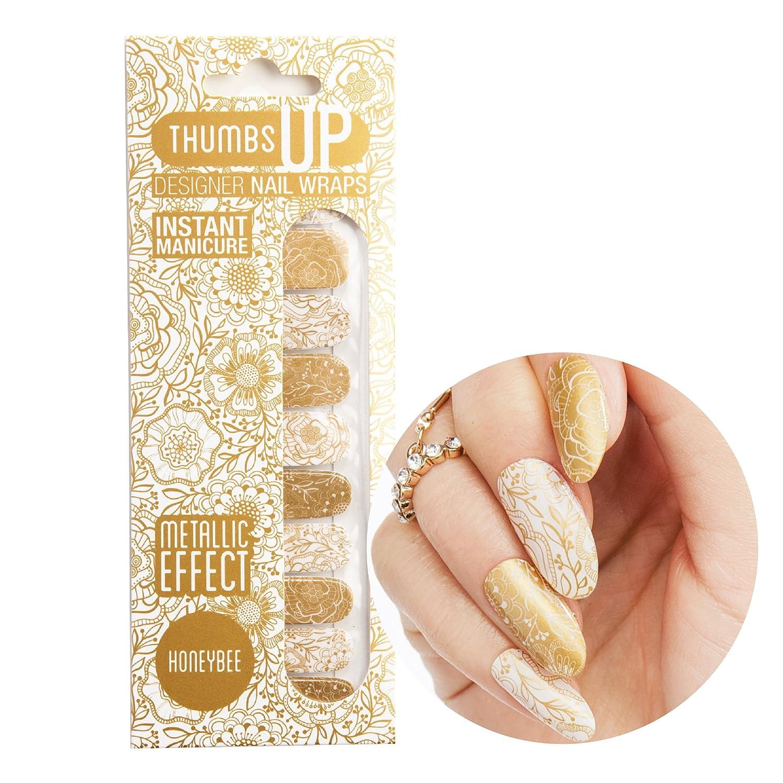 ThumbsUp Nails Lot de 20 décorations pour ongles Motiffloral Couleur miel métallique