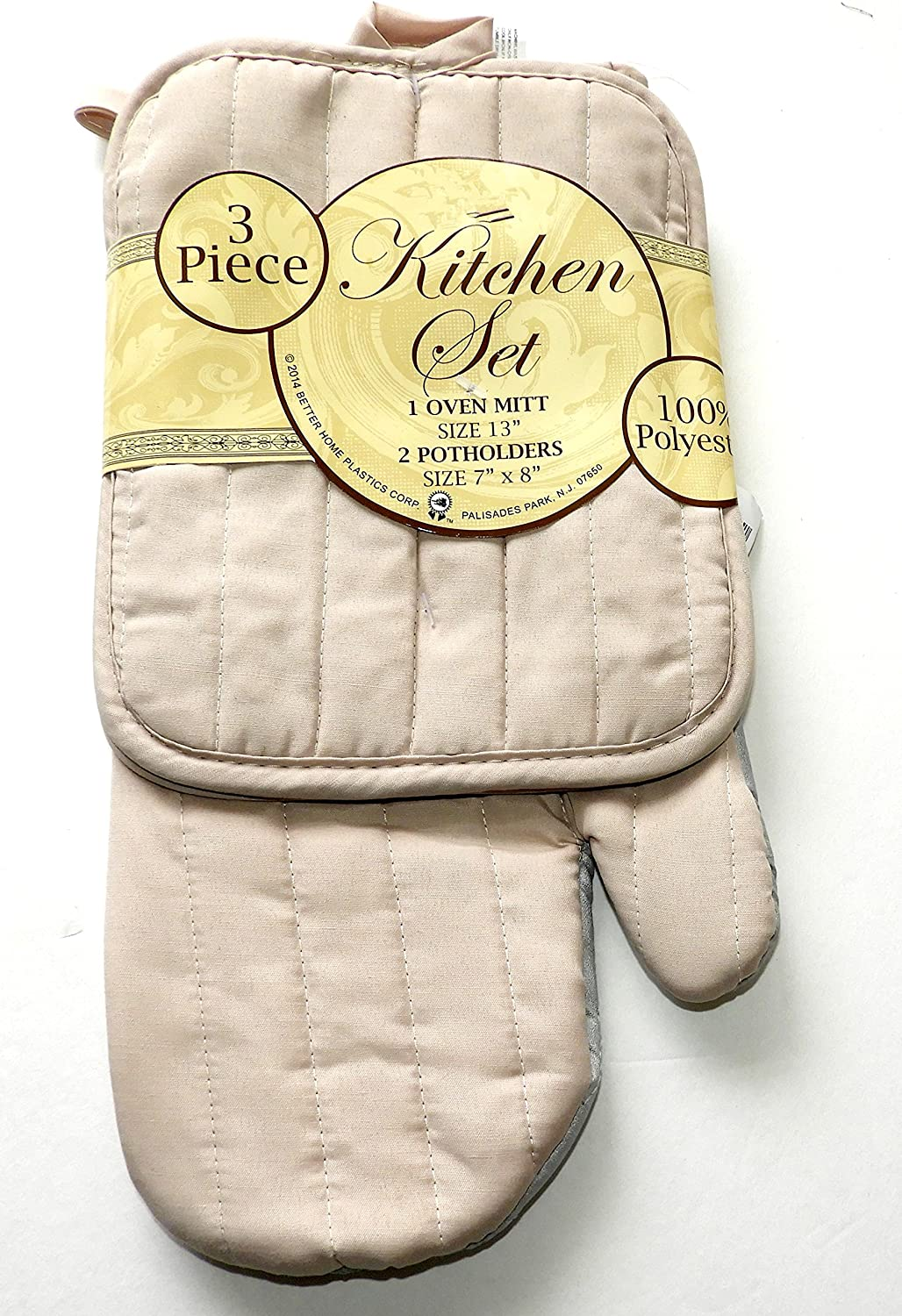 DINY Home & Style 3 Piece Oven Mitt and 2 Potholder Set (Beige)