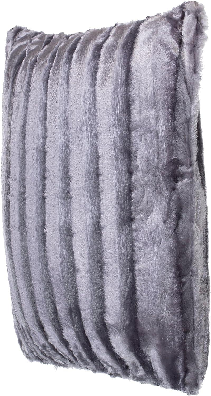 Noir Dimensions: 50/x 50/cm Brandsseller Coussin en Fourrure synth/étique Coussin Aspect Vison/- Ultra Souple et Doux avec garnissage