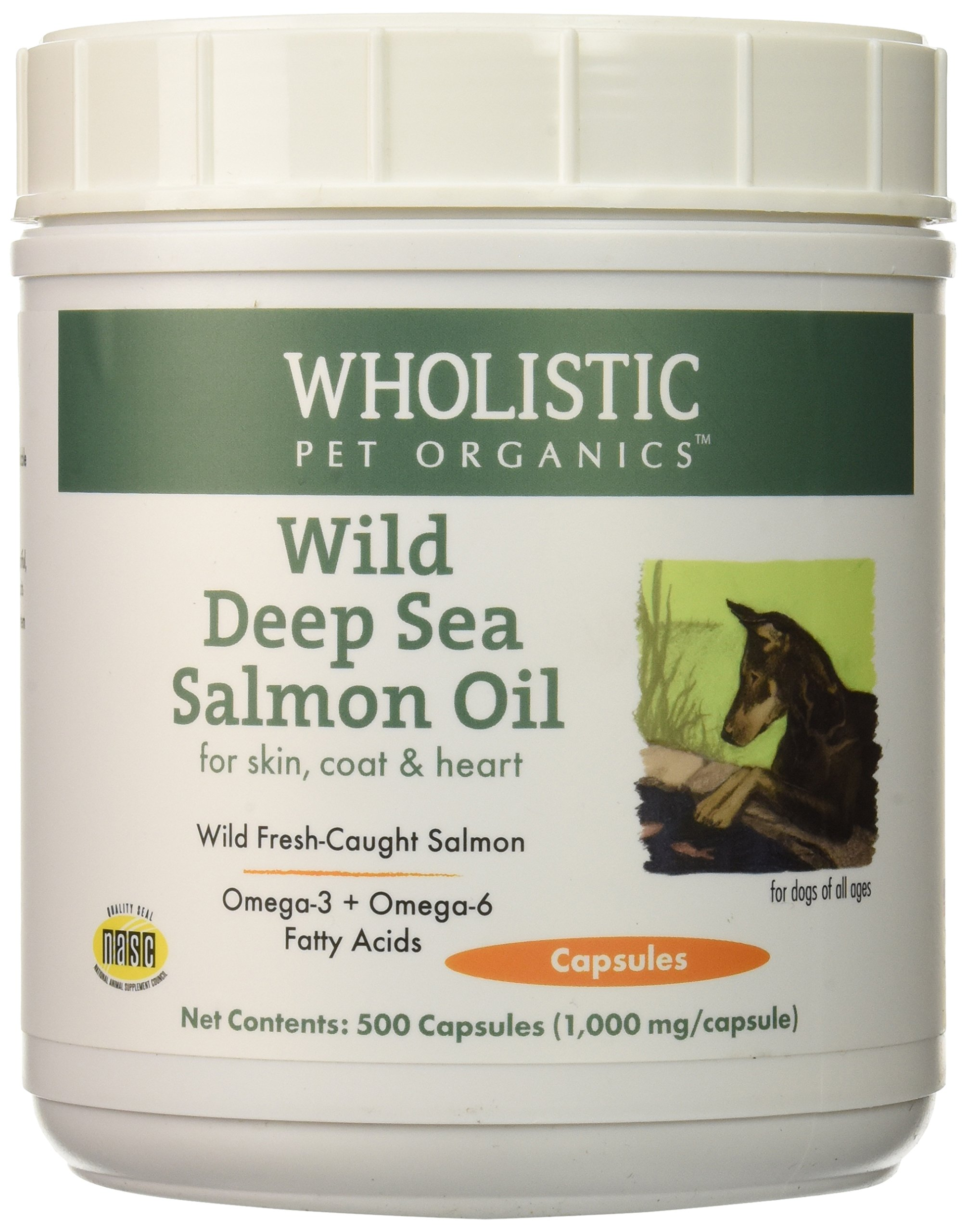 Wholistic Pet Organics Wild Deep Sea Salmon Oil 500 Capsules Supplement by Wholistic Pet Organics