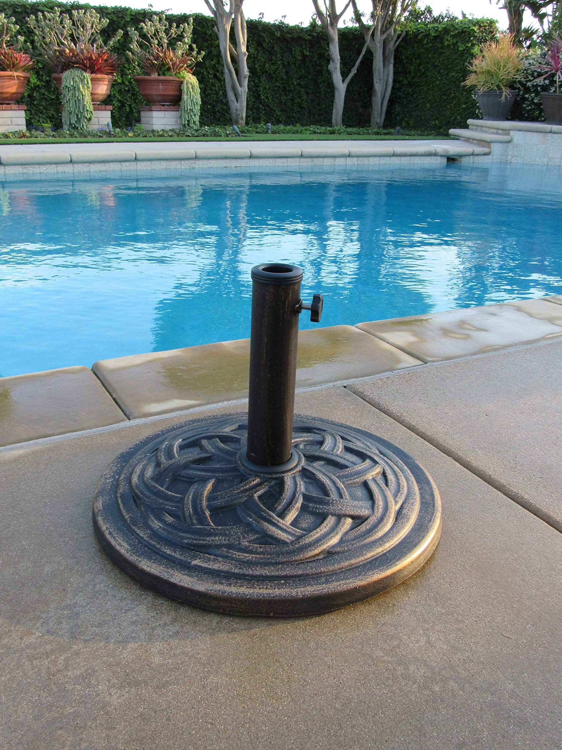 DC America UBP18181-BR 18-Inch Cast Stone Umbrella Base, Made from Rust Free Composite Materials, Bronze Powder Coated Finish by D C America