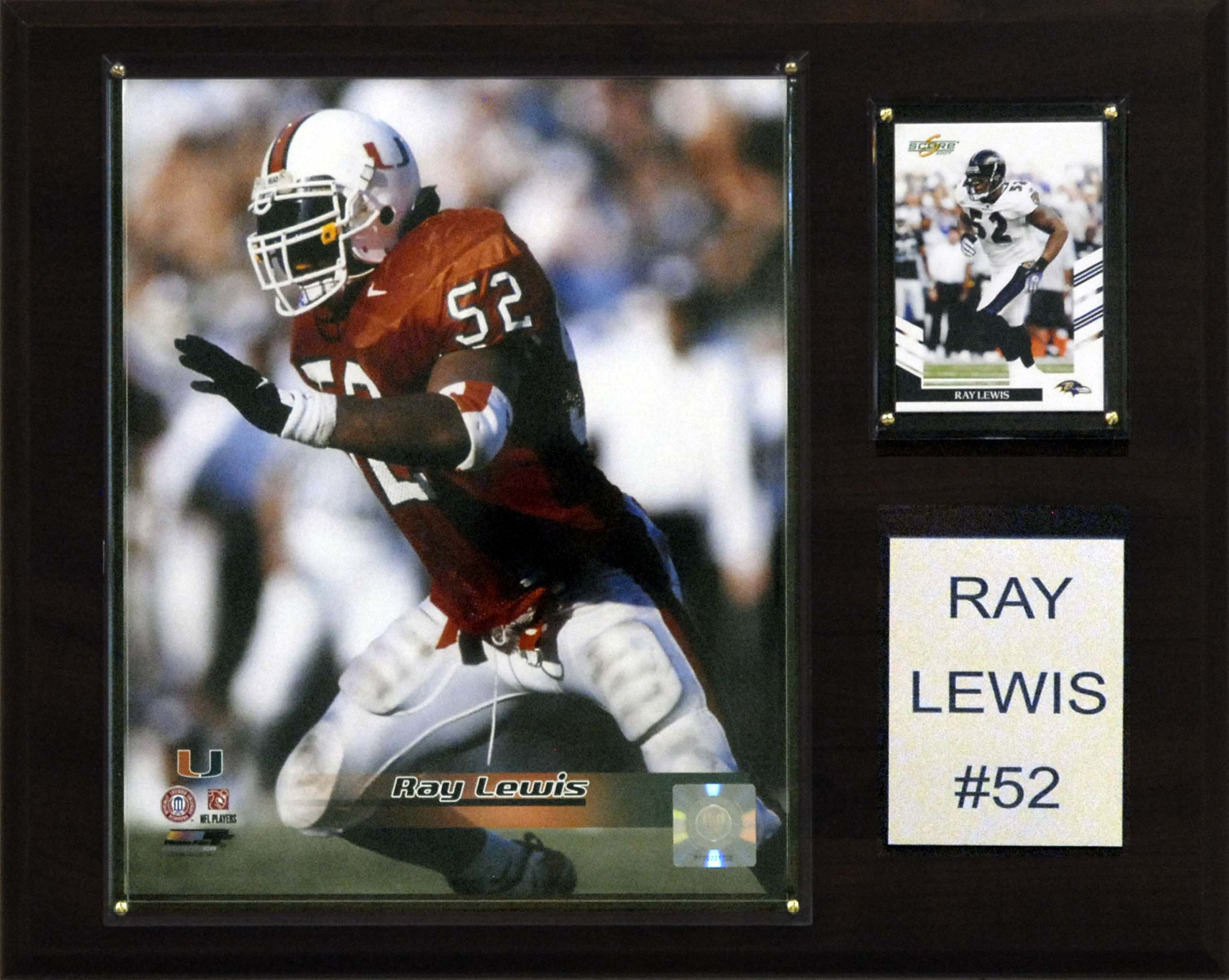 C&I Collectables NCAA Football Ray Lewis Miami Hurricanes Player Plaque
