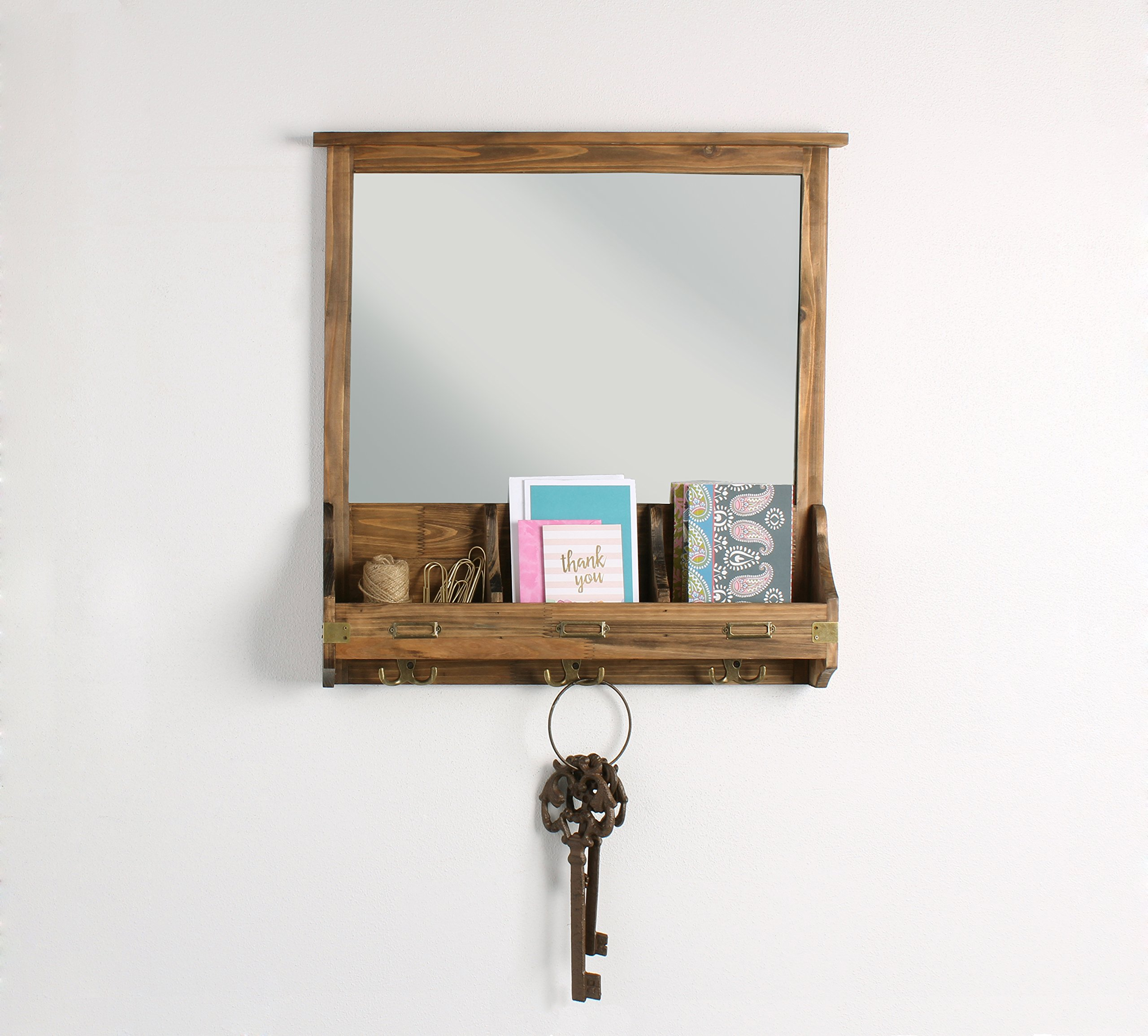 Kate and Laurel 209304 Stallard Decorative Rustic Wood Mirror Wall Home Organizer,Rustic Brown