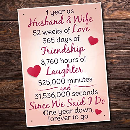 Red Ocean 1st Wedding Anniversary Plaque Sign Husband Wife Gift For