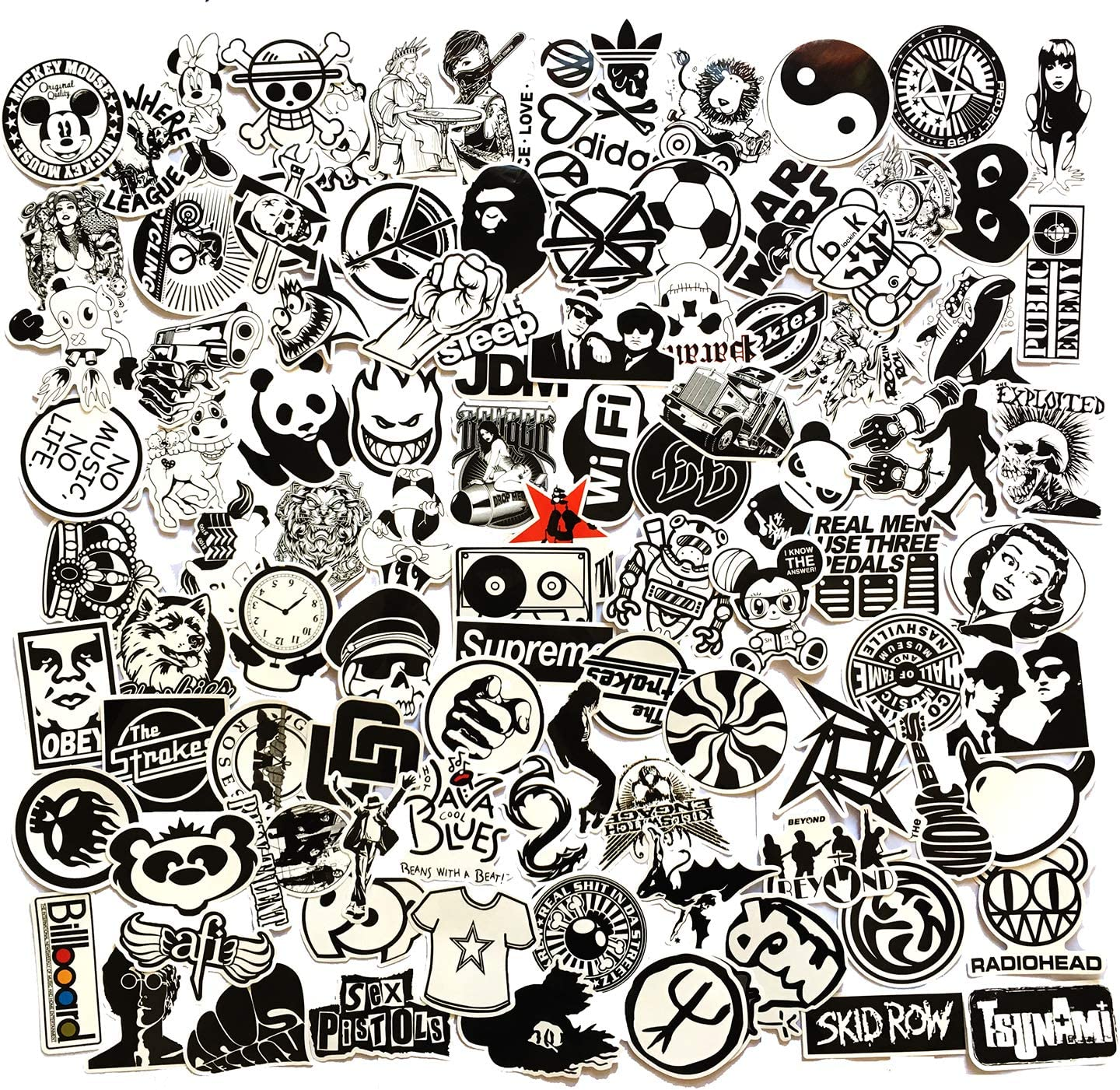Black and White Sticker Vinyls Decals for Laptop,Kids,Cars,Motorcycle,Bicycle,Skateboard Luggage,Bumper Stickers Hippie Decals Bomb Waterproof (Black White 100PCS)