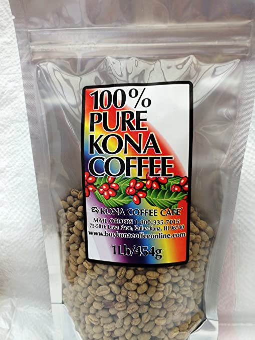 100% Kona Extra Fancy Grade Green Coffee Beans - 1 pound unroasted