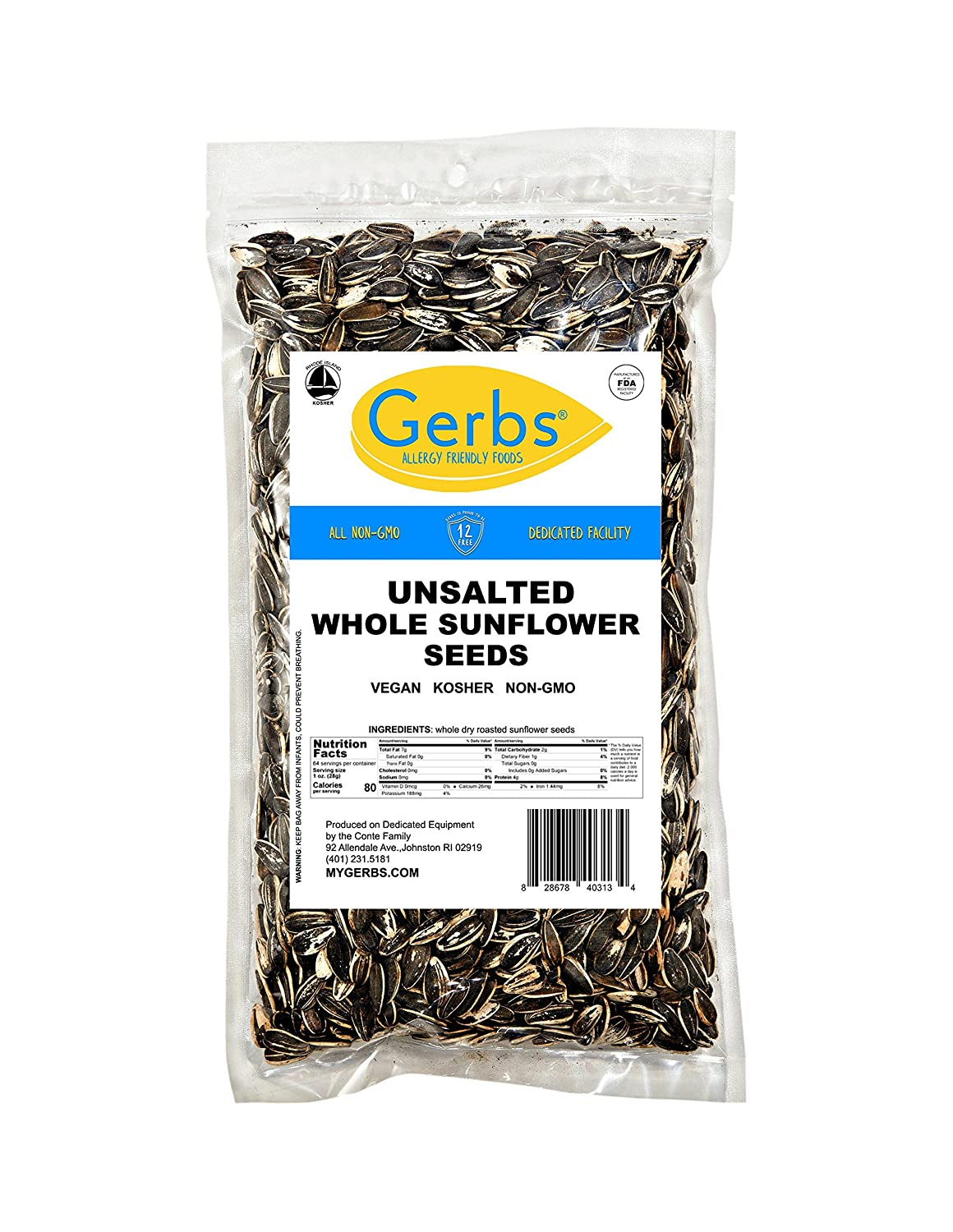 GERBS Roasted Whole Sunflower Seeds, 64 ounce Bag, Unsalted, Top 14 Food Allergen Free, Non GMO, Vegan, Keto, Paleo Friendly