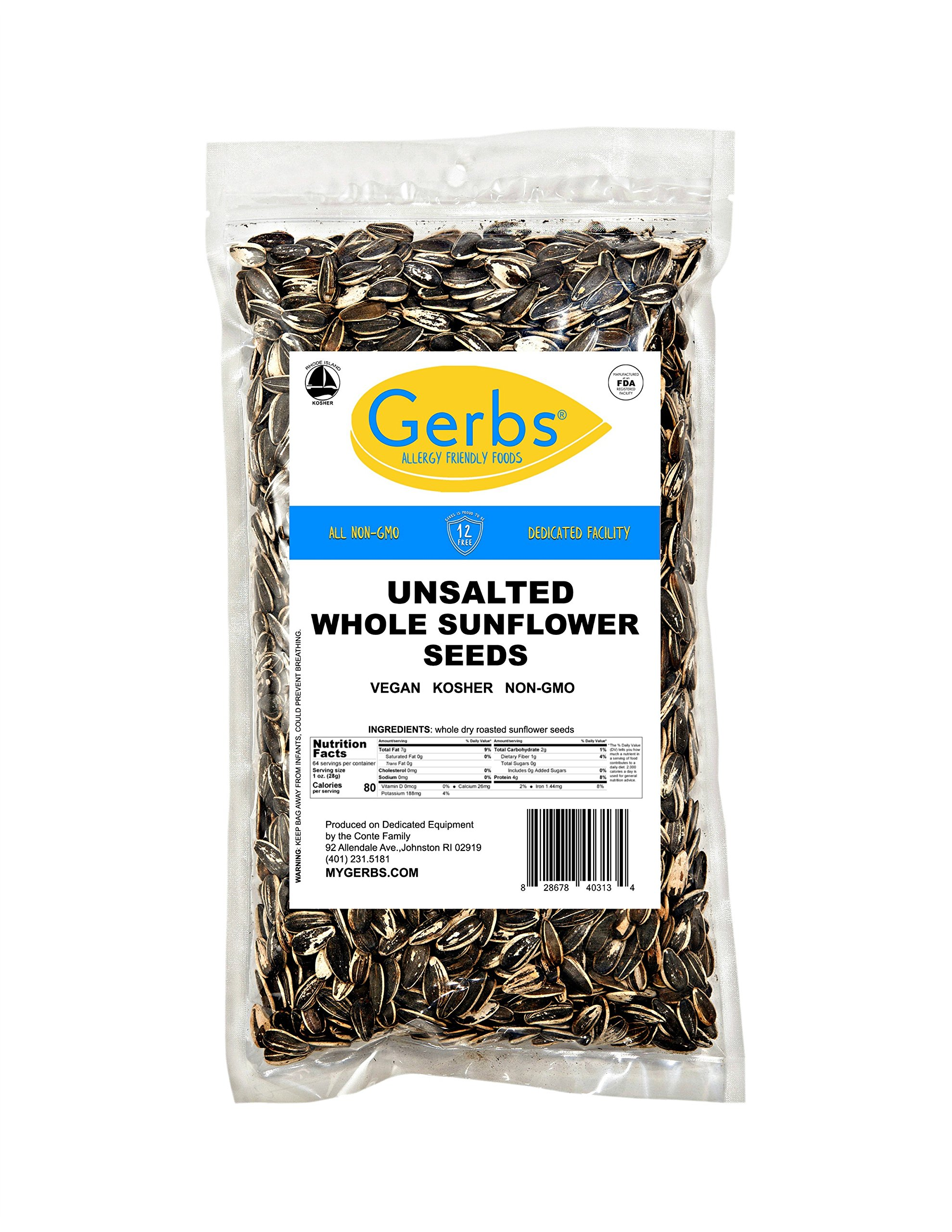 GERBS Unsalted Whole Sunflower Seeds by 4 LBS - Top 12 Food Allergy Free & NON GMO - Vegan & Kosher - In-Shell Dry Roasted Seeds Grown in USA