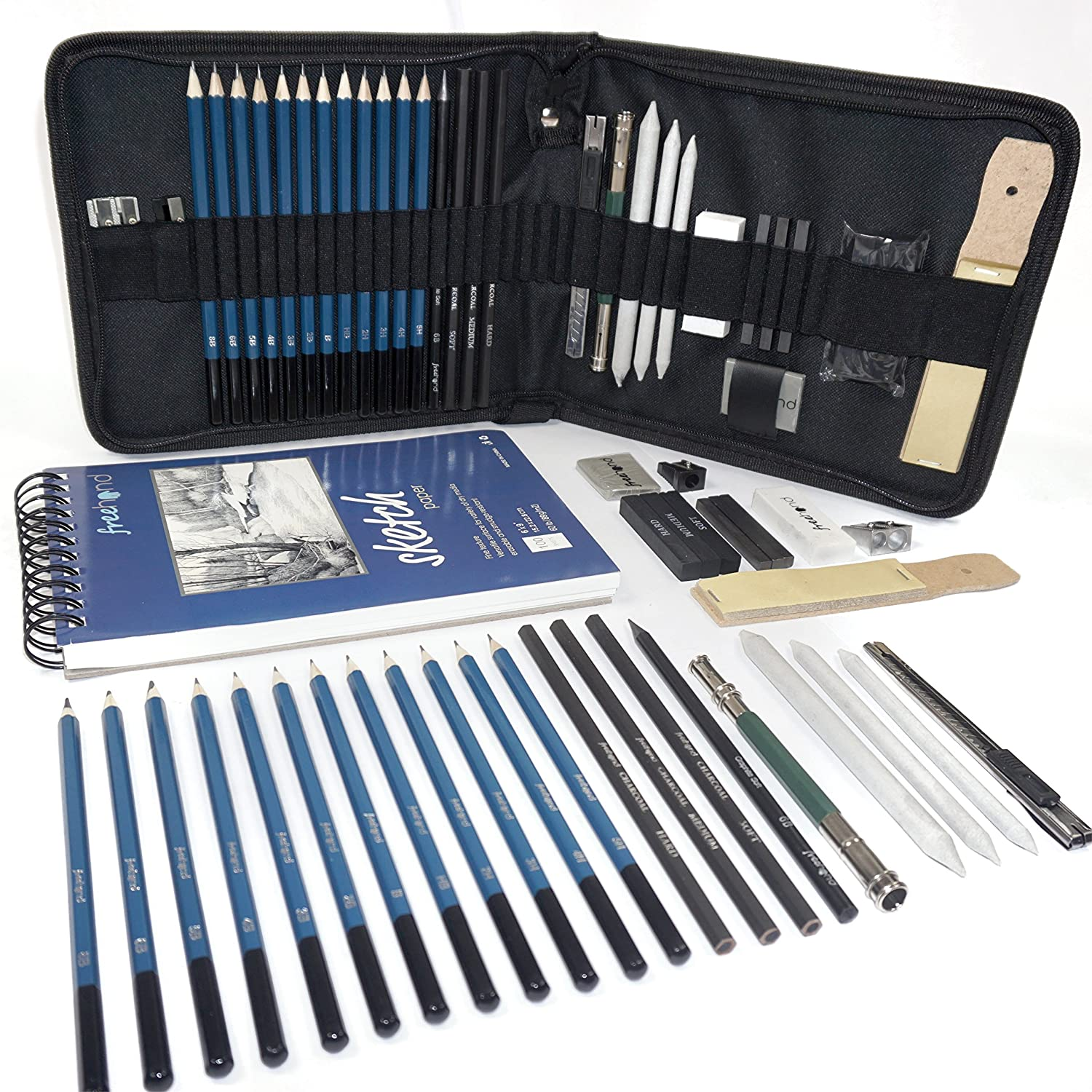 Professional Art Set - Drawing, Sketching and Charcoal Pencils. 100 Page Drawing Pad. Kneaded Eraser included. Art Kit for Kids, Teens and Adults Free Hand 4336945587