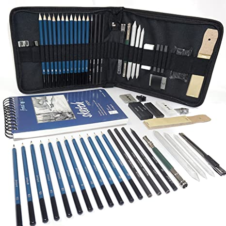 Amazon Com Professional Art Set Drawing Sketching And Charcoal