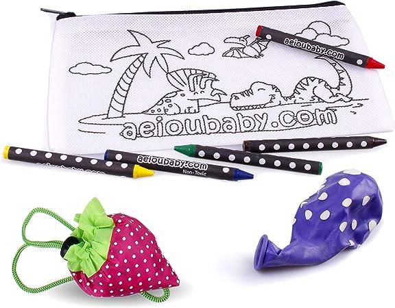 25 Estuches para Colorear + 1 Bolsa Reutilizable | 25 Bolsas Individuales con 5 Ceras de Colores y Globo | Regalo niños Fiestas y cumpleaños: Amazon.es: Juguetes y juegos
