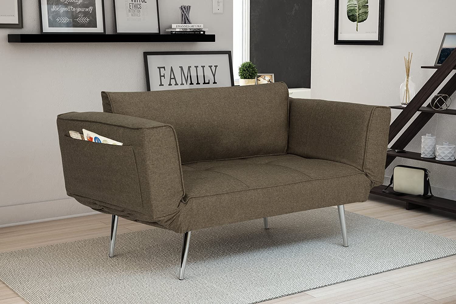 Amazon.com: DHP Euro Sofa Futon Loveseat With Chrome Legs And Adjustable  Armrests   Gray: Kitchen U0026 Dining