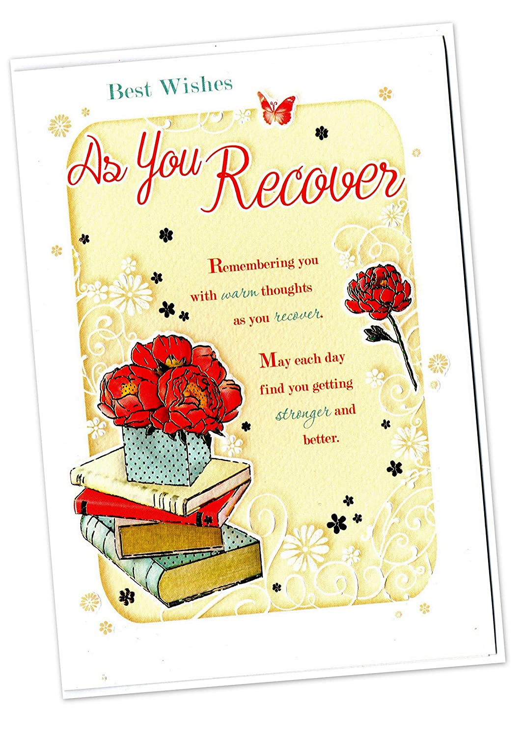6 Get Well Soon Textured Greeting Cards. with envelopes. Heartfelt Cards Sensations