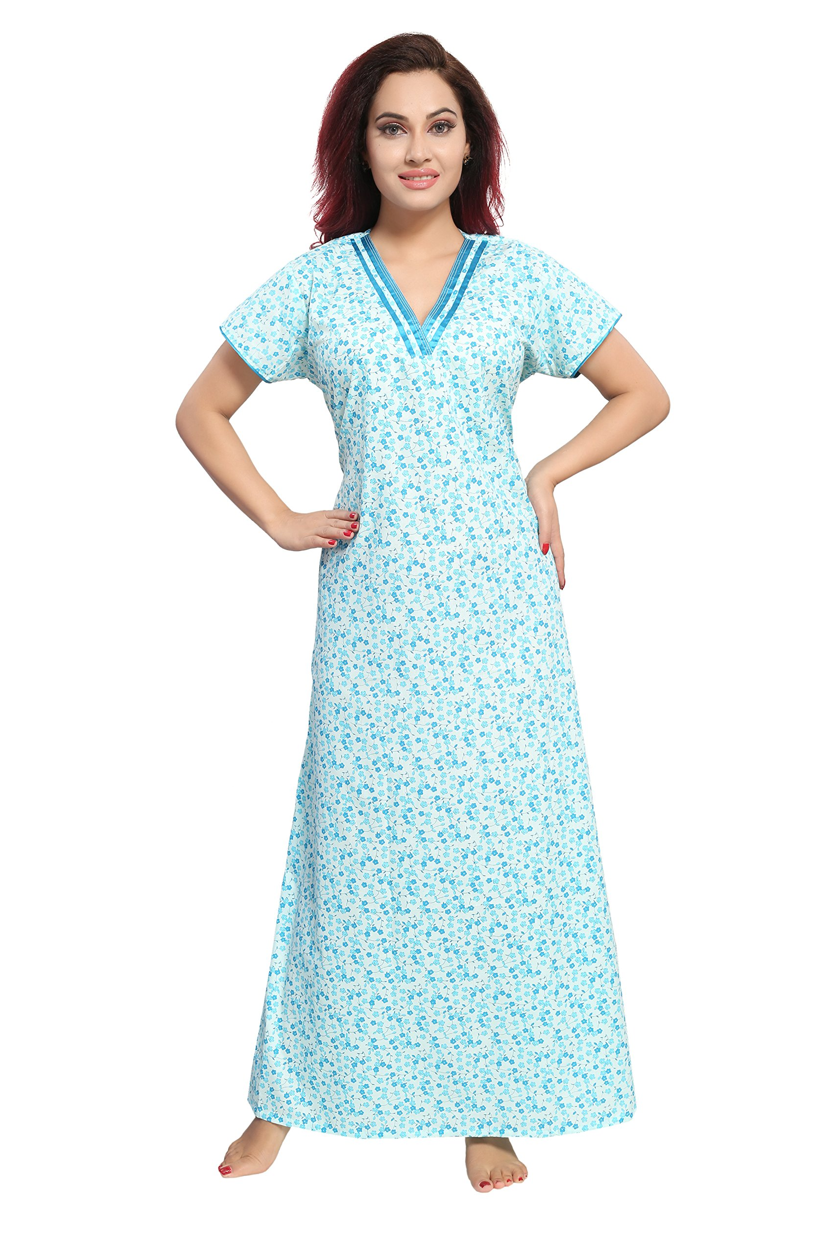 TUCUTE Women's Cotton Fabric Night Gown Nightwear with Beautiful Floral Print Size: X-Large (Blue-2163)