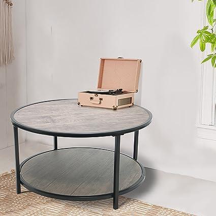 Amazoncom Vintage Dark Brown With Black Finish Metal Tier Modern - 2 tier round coffee table