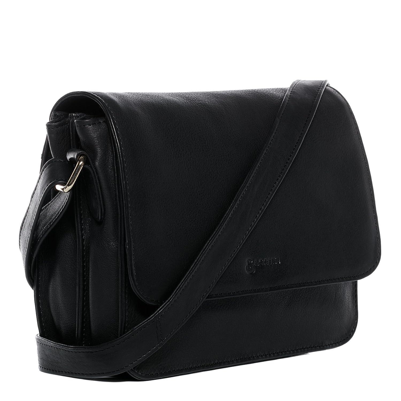 5e0c19d885a6c BACCINI Schultertasche Leder ELA Handtasche Schultergurt Damen  Umhängetasche echte Ledertasche Damentasche schwarz  Amazon.de  Koffer