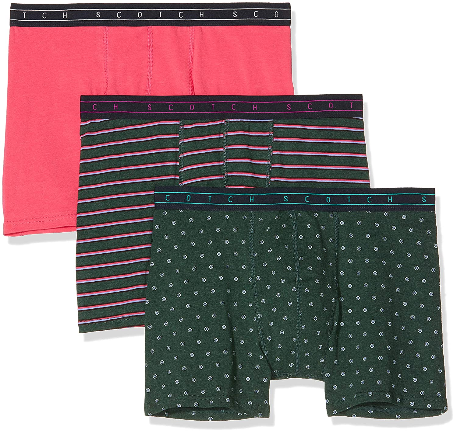 Green//Cerise Stripe and Geo Print Mens Boxer Briefs Gift Set Scotch /& Soda 3-Pack Solid