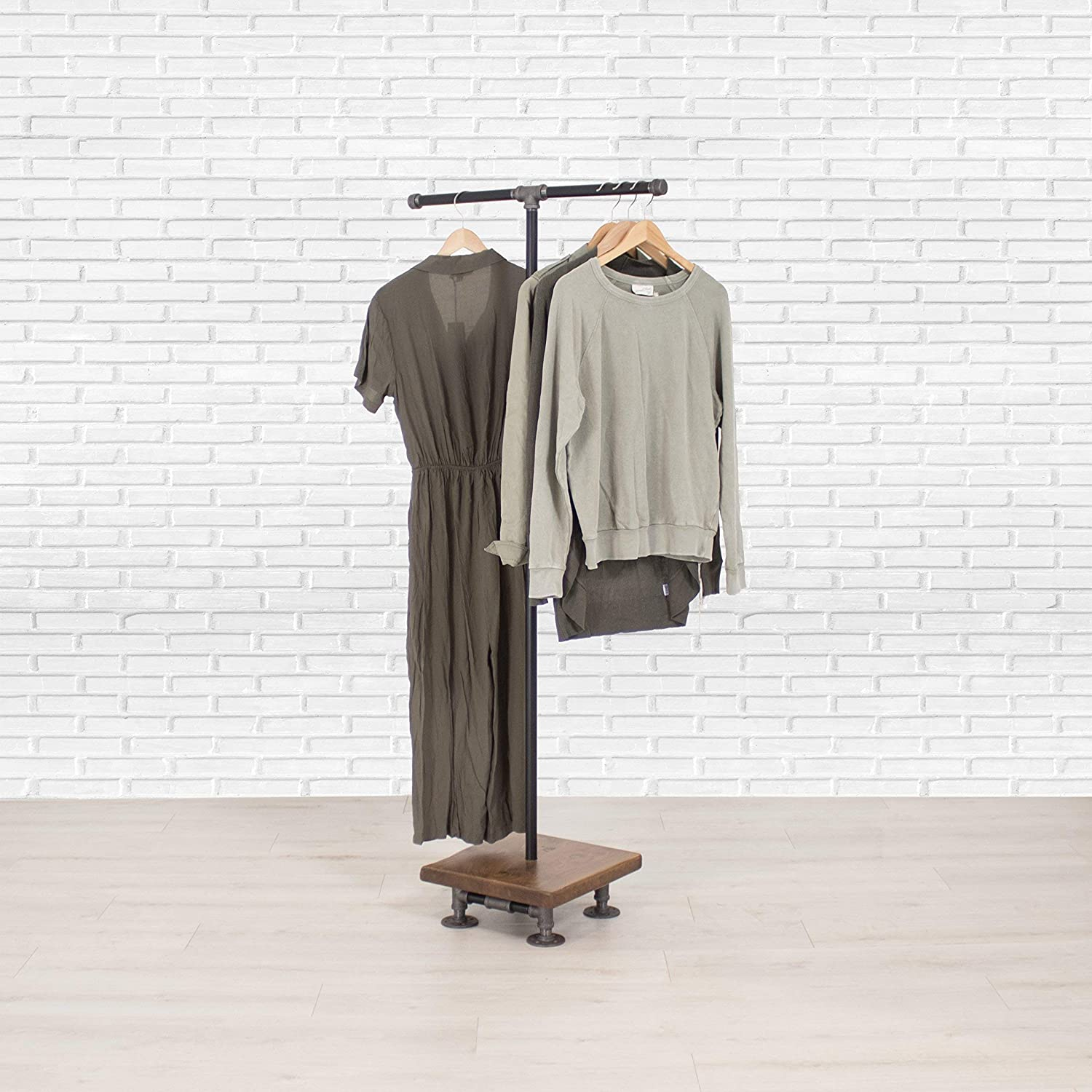 Clothing Storage and Display Clothing Rack Industrial Pipe and Wood Clothes Rack 2-Way Garment Rack Closet Organizer Wood Shelving