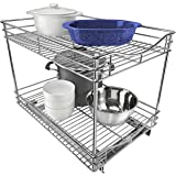 """Lynk Professional Extra Deep Roll Out Double Drawer Cabinet Organizer 14"""" x 21"""" x 16"""" - Pull Out Two-Tier Under Cabinet Shelf"""