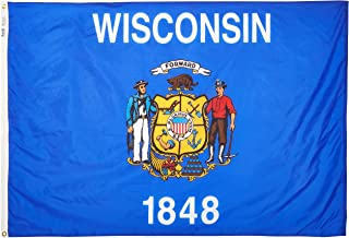 product image for Annin Flagmakers Model 145970 Wisconsin State Flag 4x6 ft. Nylon SolarGuard Nyl-Glo 100% Made in USA to Official State Design Specifications.