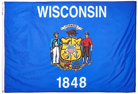 55672801c6bce Annin Flagmakers Model 145970 Wisconsin State Flag 4x6 ft. Nylon SolarGuard  Nyl-Glo 100% Made in USA to Official State Design Specifications.