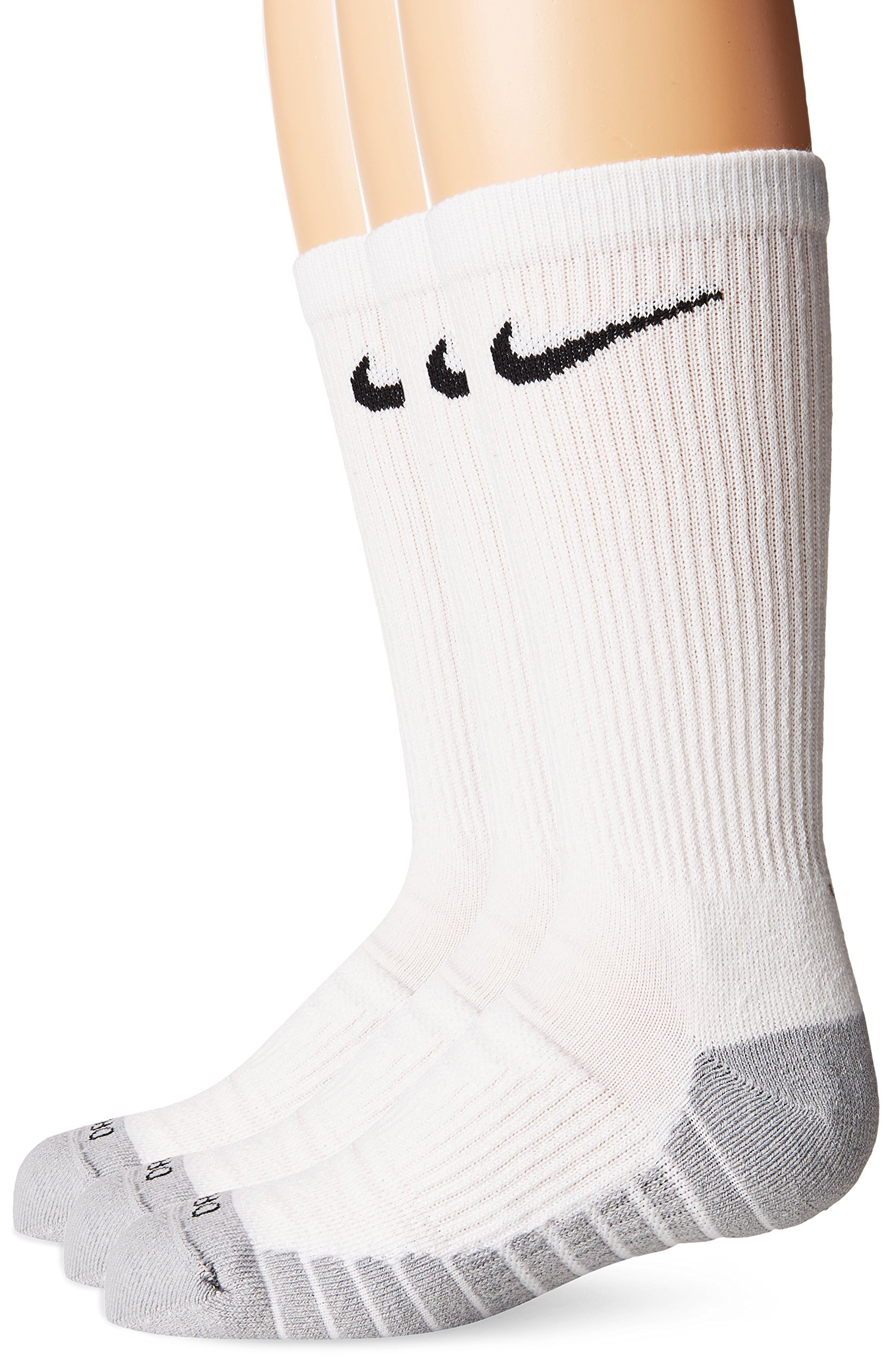 NIKE Kids' Unisex Everyday Max Cushion Crew Socks (3 Pairs), White/Wolf Grey/Black, Medium