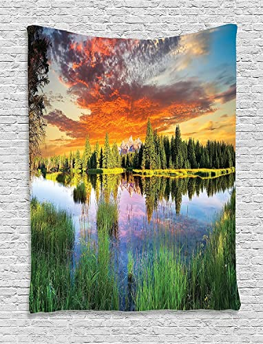 Ambesonne Landscape Tapestry, Calm Natural Sunrise by River Forest Trees Clouds Weeds Sun Reflection on Water, Wall Hanging for Bedroom Living Room Dorm Decor, 60 X 80 , Green Orange
