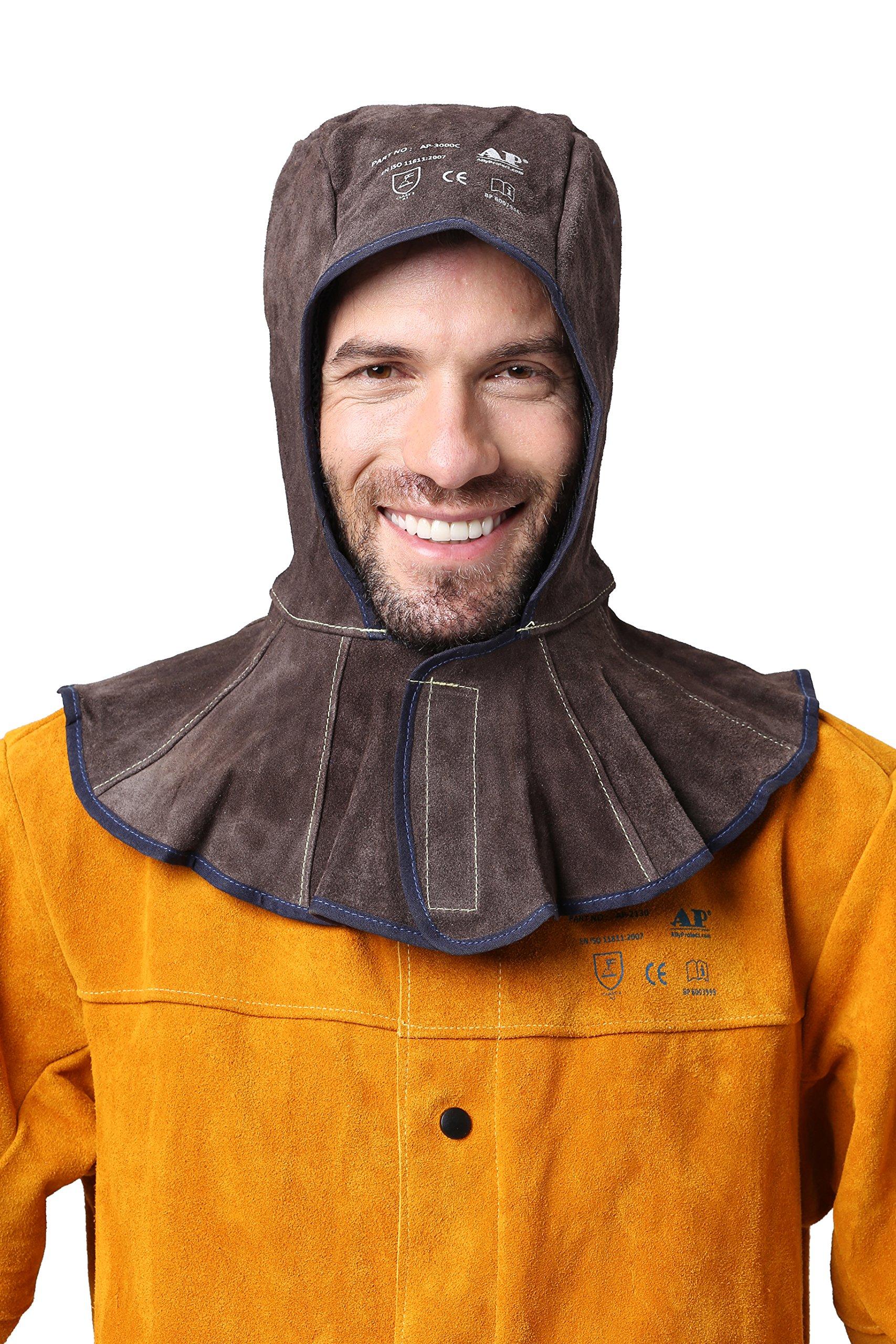 Flame Retardant Cowhide Split Leather Welding Hood with 15cm Neck Shoulder Drape Matched All Brand Helmet (Brown Colour)