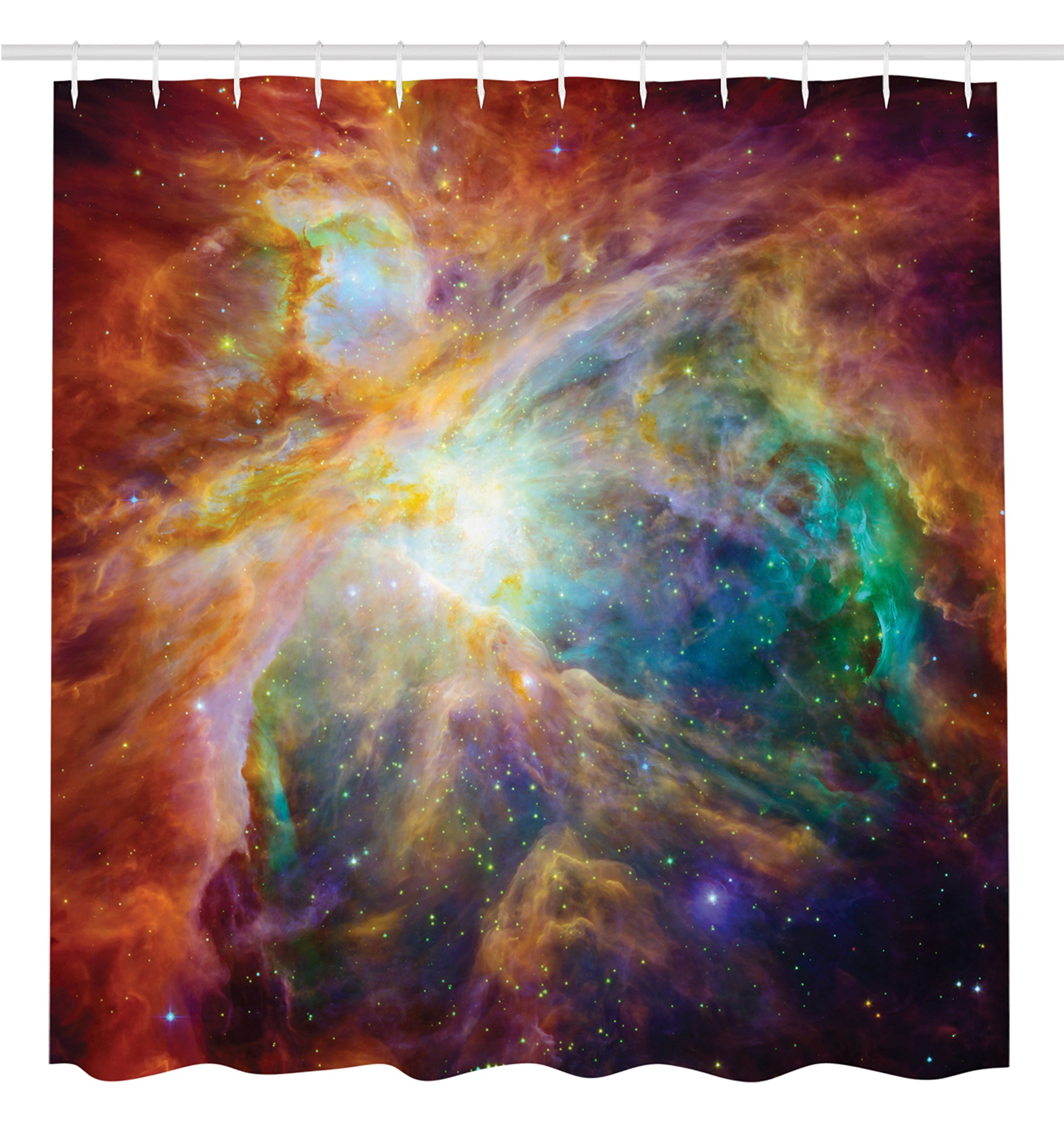 Ambesonne Outer Space Art Bathroom Decor Collection, Universe Abstract Nebula Galaxy Chakra Infinity Psychedelic Photography Print, Polyester Fabric Shower Curtain Set with Hooks, Colorful Design