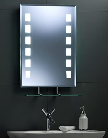 MODERN BATHROOM WALL MIRROR ~ LED Illuminated Rect Back Lit Mirror with  Shelf Fully Certified to