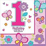 falksson Lot de 16 serviettes 1 ans fille Sweet birthday