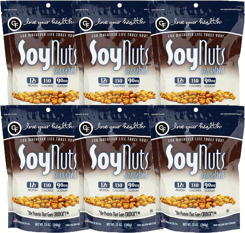 Love Your Health Mar salado nueces de soja rica en proteínas de soja frutos secos asados, no gmo, sin gluten saludable Snacks de soja boc paquete de 6 ...